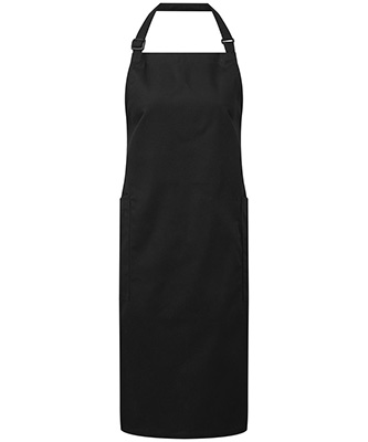 Recycled polyester and cotton bib apron organic and Fairtrade certified Black