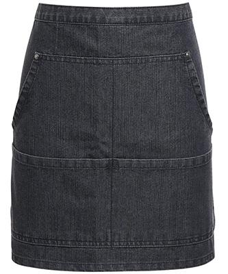 Jeans stitch denim waist apron Black Denim
