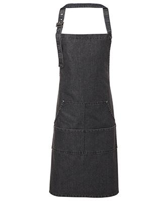 Jeans stitch bib apron Black Denim