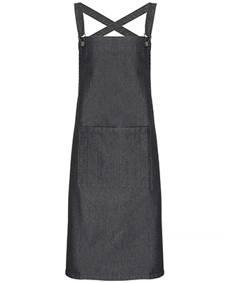 Cross back barista bib apron Black Denim