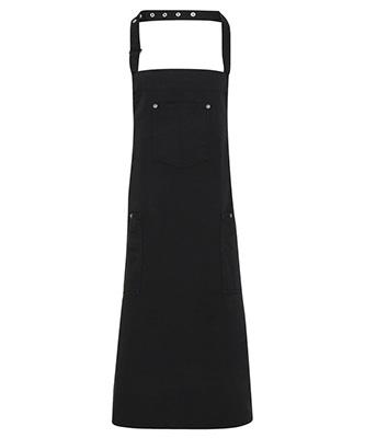 Chino cotton bib apron Black