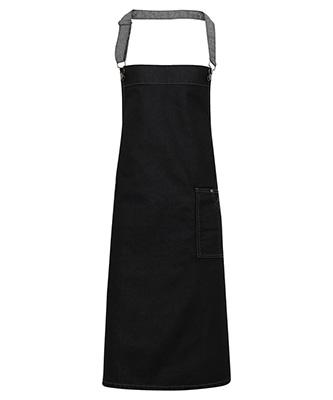 District waxed-look denim bib apron Black Denim