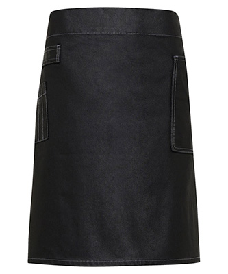 Division waxed-look denim waist apron Black Denim