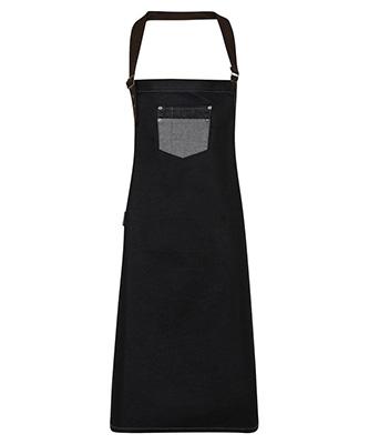 Division waxed-look denim bib apron with faux leather Black Denim