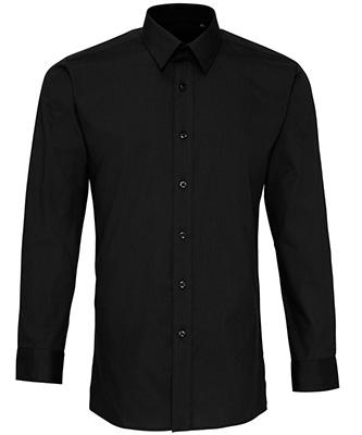 Poplin fitted long sleeve shirt Black