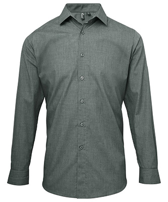 Poplin cross-dye roll sleeve shirt Grey Denim