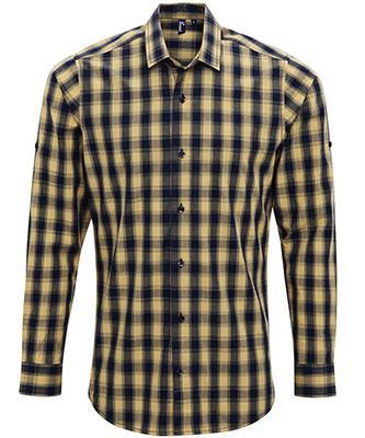 Mulligan check cotton long sleeve shirt CamelNavy