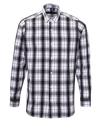 Ginmill check cotton long sleeve shirt BlackWhite