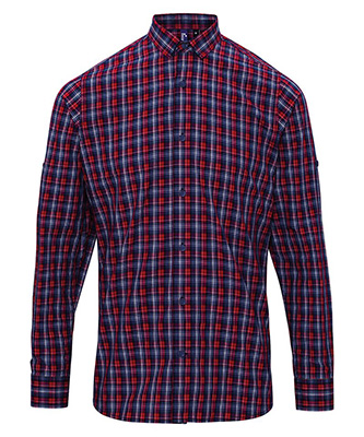 Sidehill check cotton long sleeve shirt NavyRed