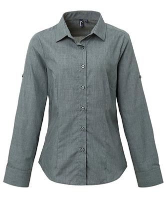 Womens poplin cross-dye roll sleeve shirt Grey Denim