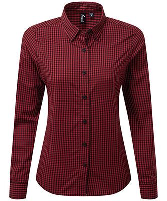 Womens Maxton check long sleeve shirt Black Red