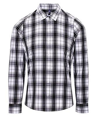 Womens Ginmill check cotton long sleeve shirt BlackWhite