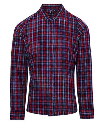 Womens Sidehill check cotton long sleeve shirt NavyRed