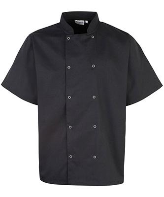 Veste de chef à manches courtes cloutée sur le devant Noir