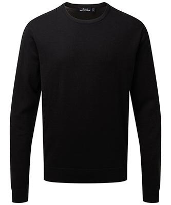 Pull en tricot riche en coton à col rond Noir