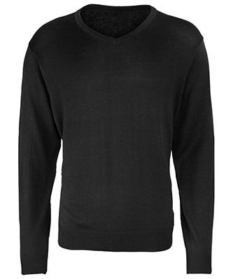 Pull en tricot à col en V Noir