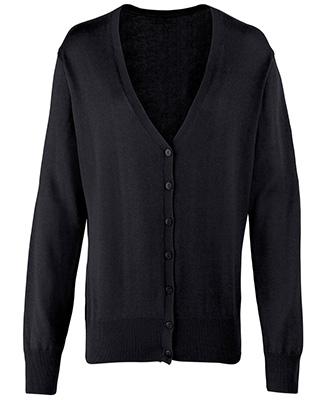 Cardigan en tricot boutonné pour femme Noir