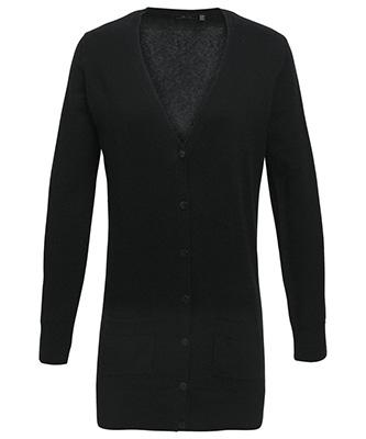 Cardigan long en tricot pour femme Noir