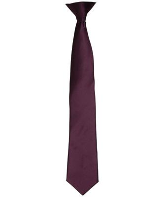 Colours satin clip tie Aubergine