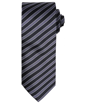 Cravate à double rayure BlackDark Grey