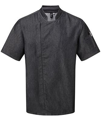 Veste de chef à fermeture zippée à manches courtes Black Denim