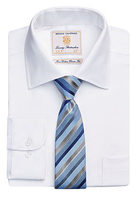 Altare Single Cuff Shirt Cotton Herringbone White H/B