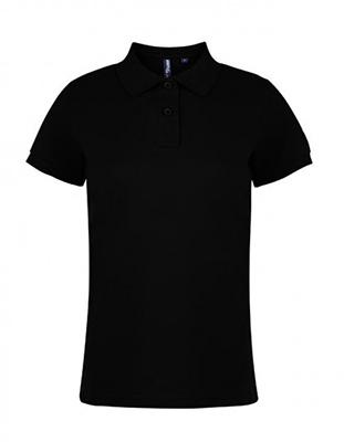 Asquith & Fox Women's Cotton Polo Shirt, Black