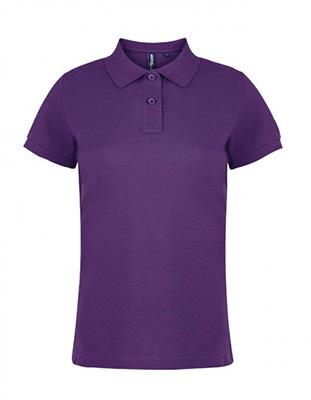 Asquith & Fox Women's Cotton Polo Shirt, Purple