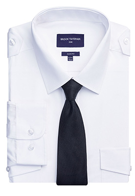 Ares Slim Fit L/S Pilot Shirt White