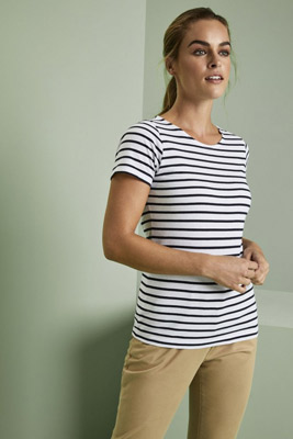Asquith & Fox Womens Short Sleeve Breton Tee, White/Navy
