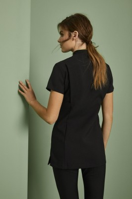 Asymmetrical Tunic, Black with Light Olive Trim