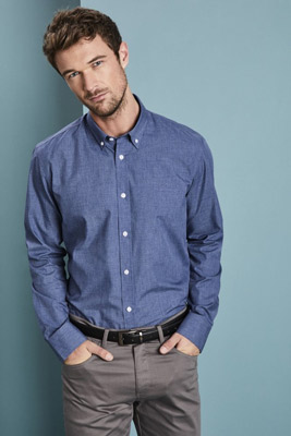 Long Sleeve Denim-look Shirt, Blue
