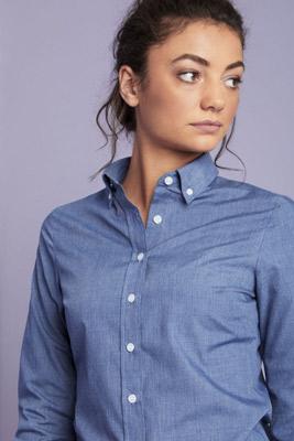 Long Sleeve Denim-look Blouse, Blue