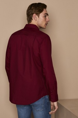 Men's Long Sleeve Shirt, Cherry Red