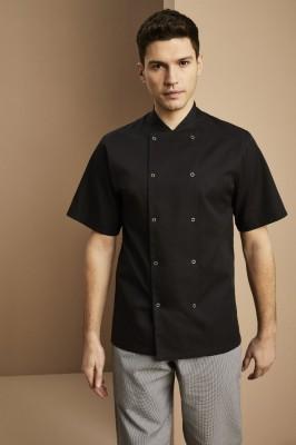Veste de Chef unisexe, manches courtes, Noir