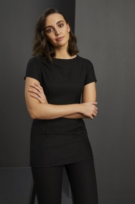 Slash Neck Tunic with Pockets, Black