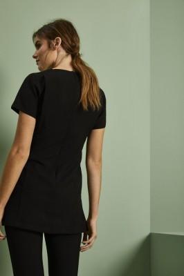 Select Contrast Lapel Tunic, Black