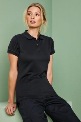 Henbury Women's Coolplus Polo Shirt, Black