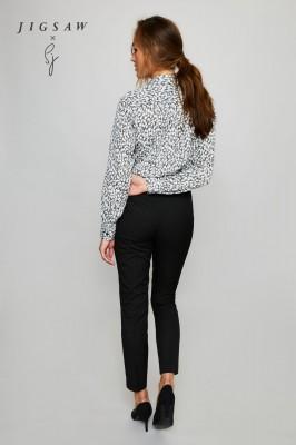 Jigsaw X Long Sleeve Shirt Blouse, Black Leopard