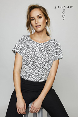 Jigsaw X Short Sleeve Pleat Neck Blouse, Black Leopard