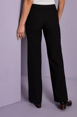 Pantalon droit en mélange de lin, noir2