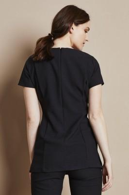V-Neck Linen Blend Tunic, Black