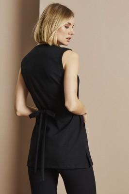 Linen Wrap Tunic, Black