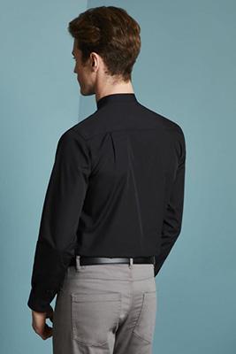 Long Sleeve Banded Collar Shirt, Black