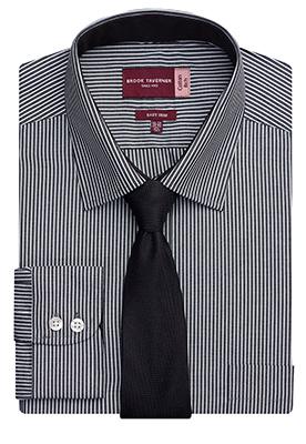 Savona Classic Fit Shirt Black/White Stripe