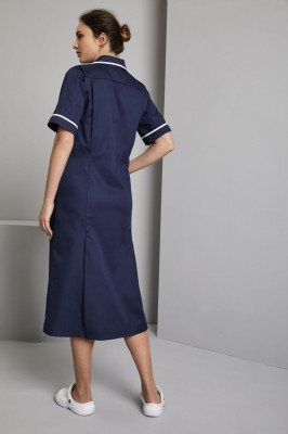 Classic Collar Maternity Healthcare Dress, Navy with White Trim
