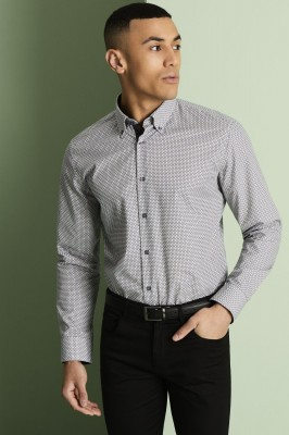 Men's Patterned Shirt, Black and White