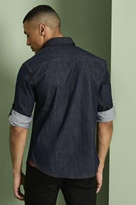 Men's Denim Shirt, Dark Blue