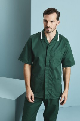 Men's Classic Collar Healthcare Tunic, Bottle Green with White Trim