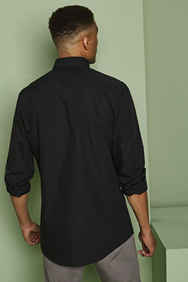 Long Sleeve Button Collar Shirt, Black
